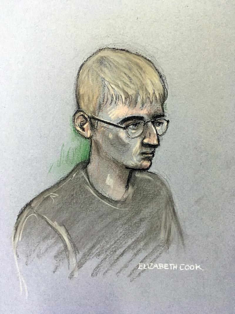 A court artist sketch of Thomas King who admitted plotting to steal a quad bike before the death of PC Andrew Harper. (PA/Elizabeth Cook)