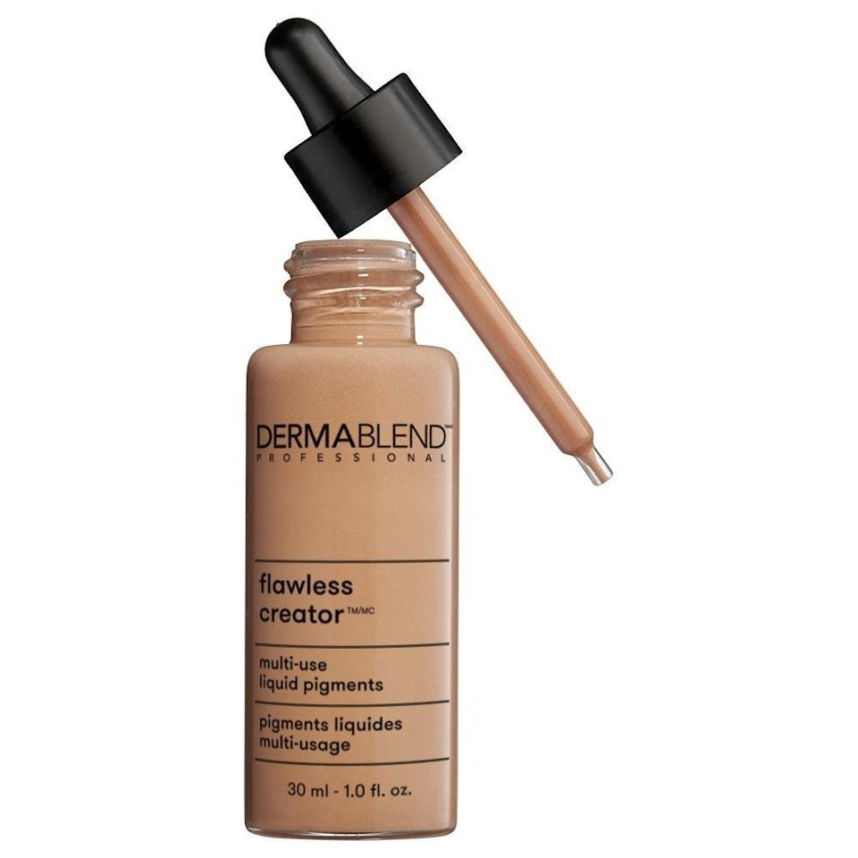 """Made with 33 percent liquid pigment — but no water or oil — Dermablend Flawless Creator's unique formula won us over for coverage so light and seamless, all 21 shades look like the best possible version of your bare skin. Wear it alone for buildable coverage (start with one drop and build it up to your preference), or mix it with a serum or moisturizer for an extra glow-inducing touch — either way, just be sure to shake the bottle beforehand before dispensing product. $40, Amazon. <a href=""""https://www.amazon.com/Dermablend-Flawless-Creator-Multi-Use-Foundation/dp/B072KK2PS8"""" rel=""""nofollow noopener"""" target=""""_blank"""" data-ylk=""""slk:Get it now!"""" class=""""link rapid-noclick-resp"""">Get it now!</a>"""