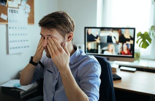 """<span class=""""caption"""">Too much screen time.</span> <span class=""""attribution""""><a class=""""link rapid-noclick-resp"""" href=""""https://www.shutterstock.com/image-photo/information-overload-fatigue-work-home-tired-1898021377"""" rel=""""nofollow noopener"""" target=""""_blank"""" data-ylk=""""slk:Shutterstock/Girts Ragelis"""">Shutterstock/Girts Ragelis</a></span>"""