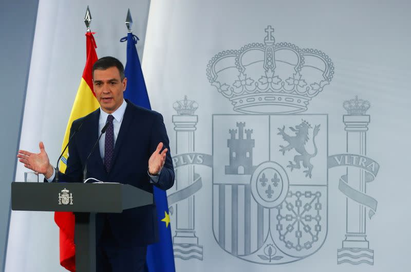 Spain's PM Sanchez presents the economic recovery plan after the COVID-19 pandemic in Madrid