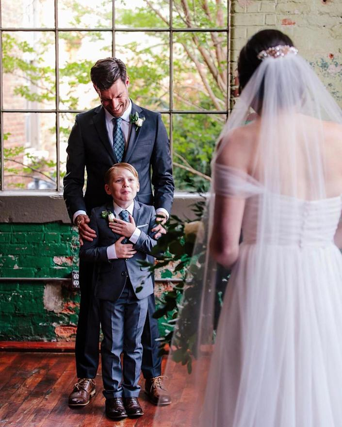 Rebekah and Tyler Seabolt made young Jude very happy when they tied the knot in June 2020. (Ashah Photography)