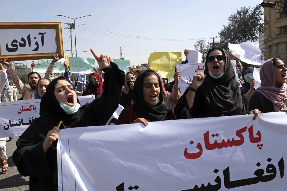 Afghans shout slogans during an anti-Pakistan demonstration, near the Pakistan embassy in Kabul, Afghanistan, Tuesday, Sept. 7, 2021. (AP Photo/Wali Sabawoon)