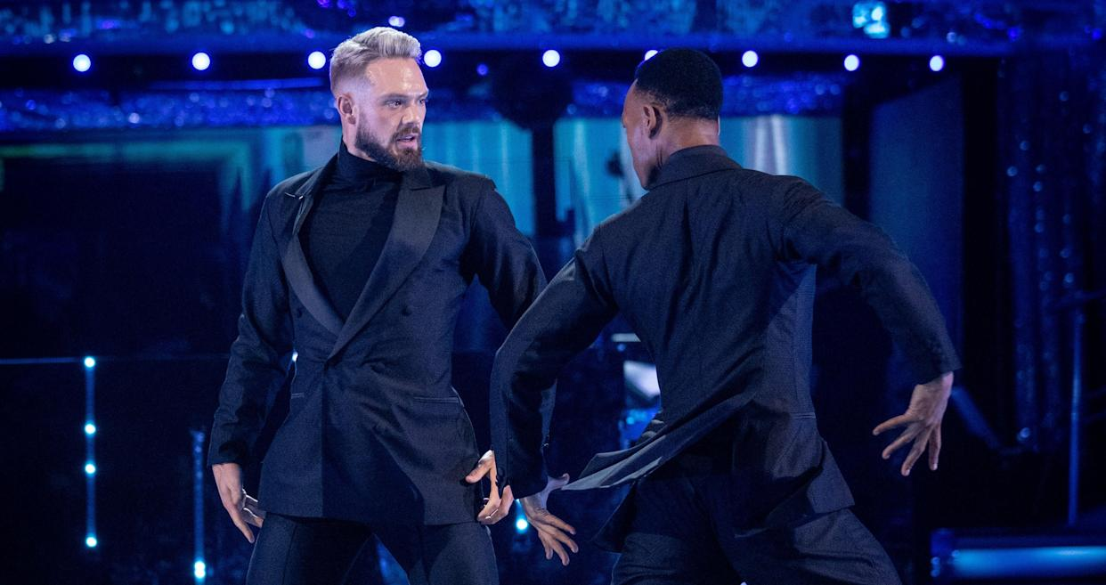 John Whaite and Johannes Radebe performed the Tango for their first live dance on 'Strictly'. (BBC)