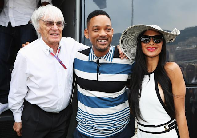 MONTE CARLO, MONACO - MAY 27: F1 supremo Bernie Ecclestone meets actor Will Smith and Nicole Scherzinger of the Pussycat Dolls in the paddock before the Monaco Formula One Grand Prix at the Circuit de Monaco on May 27, 2012 in Monte Carlo, Monaco. (Photo by Mark Thompson/Getty Images)