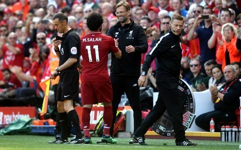 Klopp congratulates Salah after he leaves the field - Credit: Getty Images