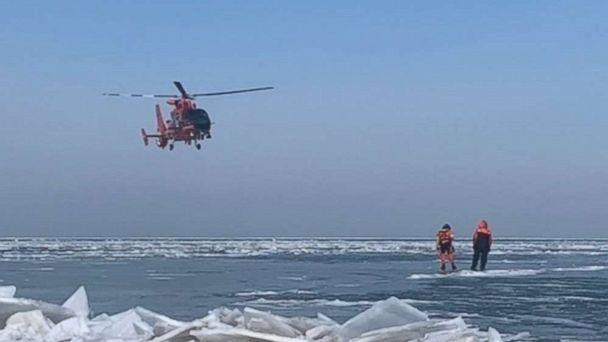 PHOTO: Forty-six ice fishermen were rescued by the U.S. Coast Guard near Catawaba Island, Ohio, after becoming stranded on an ice floe on Saturday, March 9, 2019. (U.S. Coast Guard)