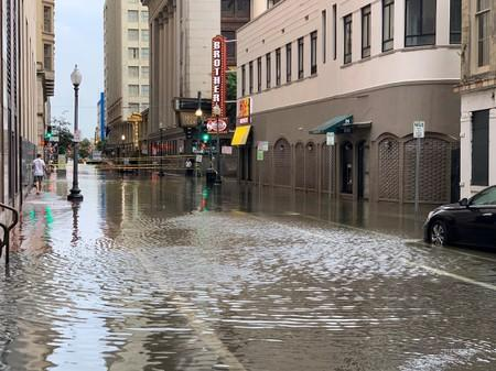 A flooded area is seen in New Orleans, Louisiana