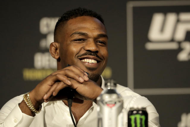 Jon Jones talks about his light heavyweight bout against Alexander Gustafsson at UFC 232. (AP)