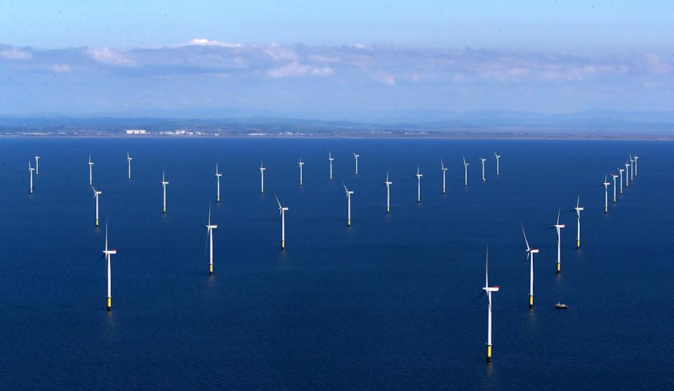 Aerial view of the Walney Extension wind farm (PA Archive)