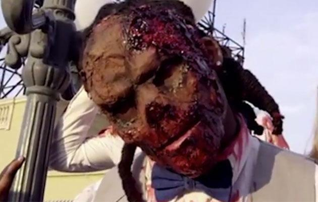 A <i>Walking Dead</i> wedding had been DeAngelo Williams' dream all his life. Photo: YouTube