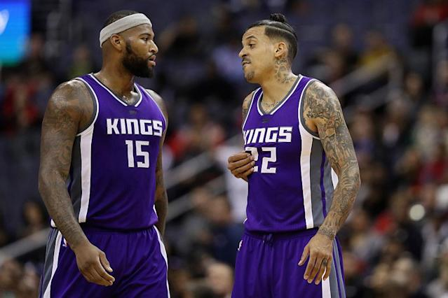 "<a class=""link rapid-noclick-resp"" href=""/nba/players/4720/"" data-ylk=""slk:DeMarcus Cousins"">DeMarcus Cousins</a> (left) and <a class=""link rapid-noclick-resp"" href=""/mlb/players/9333/"" data-ylk=""slk:Matt Barnes"">Matt Barnes</a> have been named in a civil suit stemming from an altercation at a New York nightclub on Monday. (Getty Images)"