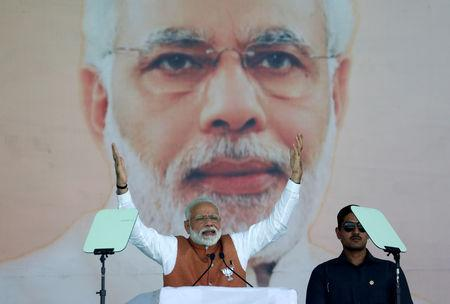 India's Prime Minister Narendra Modi gestures as he addresses an election campaign rally in Meerut in the northern Indian state of Uttar Pradesh, India, March 28, 2019. REUTERS/Adnan Abidi
