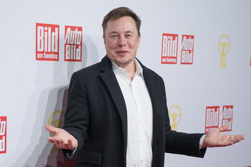 12 November 2019, Berlin: Elon Musk, head of Tesla, is awarded the Golden Steering Wheel. Photo: Jörg Carstensen/dpa (Photo by Jörg Carstensen/picture alliance via Getty Images)