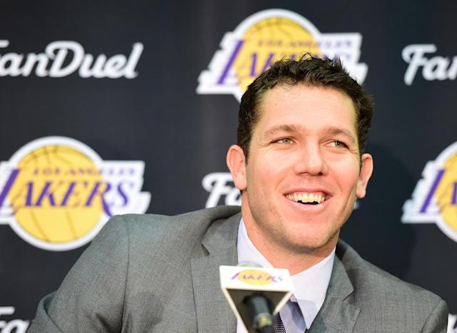 New Lakers head coach Luke Walton gets comfortable in the spotlight. (Getty Images)