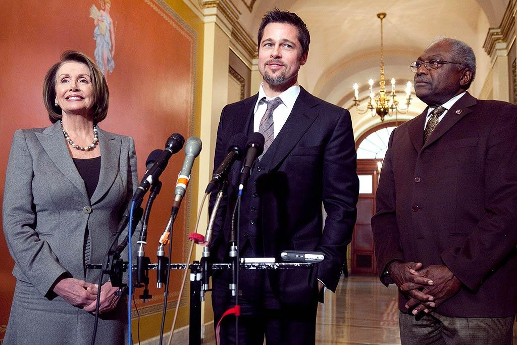 """Brad Pitt was in Washington D.C. on Thursday to discuss his """"Make It Right"""" campaign, which builds sustainable housing for low-income residents left homeless after Hurricane Katrina. House Speaker Nancy Pelosi was smitten by the handsome actor, calling her encounter with him """"an honor"""" and a """"real treat."""" Brendan Hoffman/<a href=""""http://www.gettyimages.com/"""" target=""""new"""">GettyImages.com</a> - March 5 2009"""