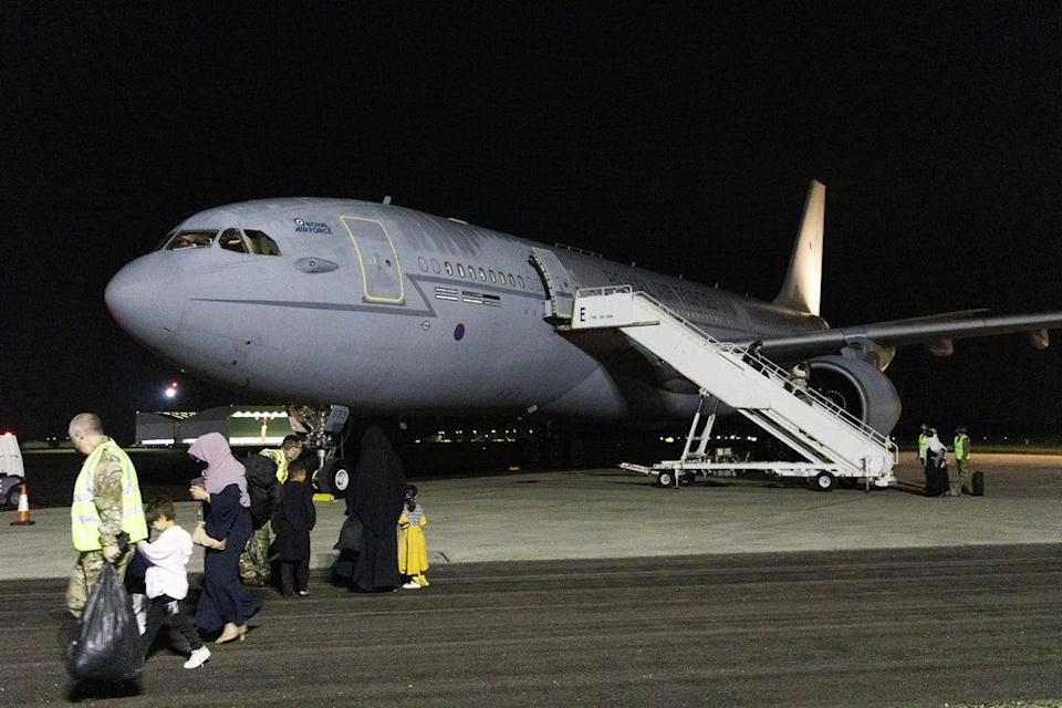 Ministry of Defence handout photo of passengers disembarking a Royal Air Force Voyager after arriving at RAF Brize Norton from the Middle East (SAC Samantha Holden RAF/PA) (PA Media)