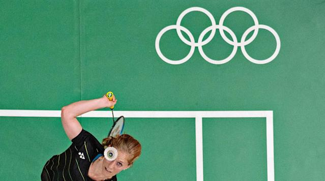 <p>Aerial view of Germany Karin Schnaase in action during Women's Singles at Riocentro Pavilion 4 in Rio de Janeiro, Brazil.</p>