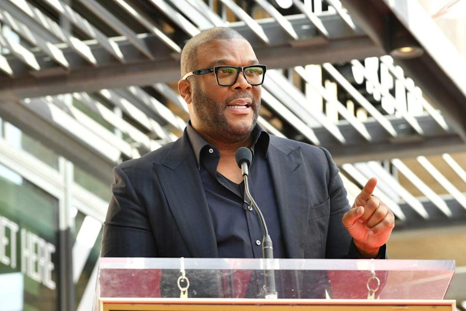 Tyler Perry speaks at the ceremony honoring Dr. Phil McGraw with a star on The Hollywood Walk Of Fame on February 21, 2020 in Hollywood, California. (Photo by Amy Sussman/Getty Images)