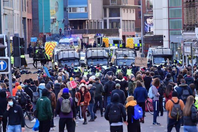 People have taken to the streets in Bristol to protest against the Government's Police, Crime, Sentencing and Courts Bill (Bill Birchall/PA)