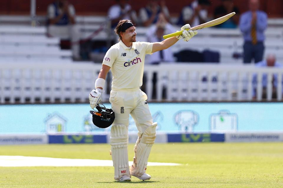 <p>Rory Burns celebrates his century at Lord's</p> (Getty Images)