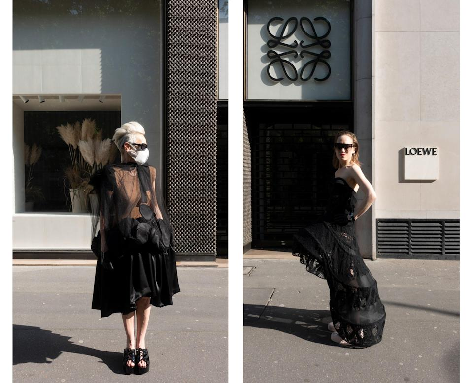 """<div class=""""caption""""> Wearing Comme des Garçons and Yohji Yamamoto in front of the Loewe store. </div>"""
