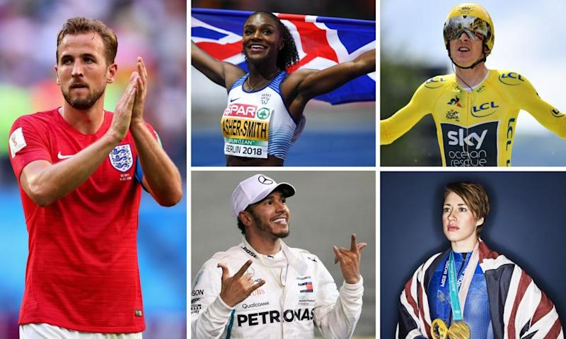 Clockwise from left: Harry Kane is the bookies' favourite but Dina Asher-Smith, Geraint Thomas, Lizzy Yarnold and Lewis Hamilton have all had golden years.