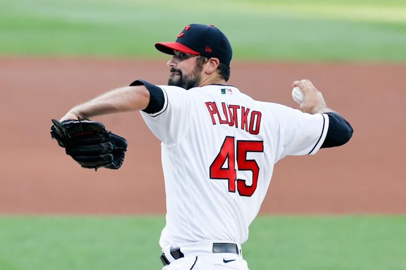 Cleveland Indians starting pitcher Adam Plutko delivers against the Detroit Tigers during the first inning Friday, Aug. 21, 2020, in Cleveland.