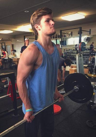 The buff blond, who celebrated his 18th birthday last month, has been sharing several workout photos over the past few weeks. Source: Instagram