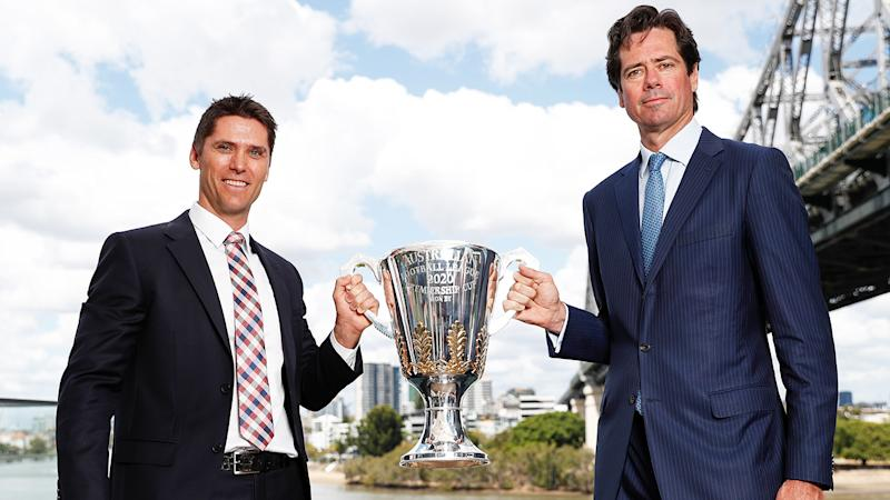 Simon Black and AFL boss Gillon McLachlan are pictured at the launch of the 2020 AFL Finals.