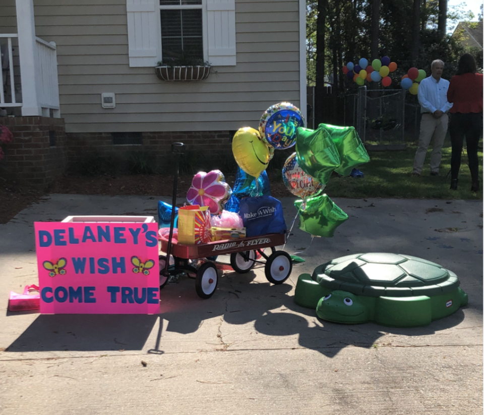 Delaney's loved ones and local first responders staged a socially distant parade for her. (Photo: Courtesy of Make-A-Wish)
