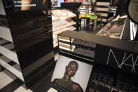 In this photo taken on May 7, 2021, a display inside a Sephora store in New York features Black-owned beauty brands. Sephora recently announced a commitment to devote at least 15% of its store shelves to Black-owned brands. (AP Photo/Robert Bumsted)
