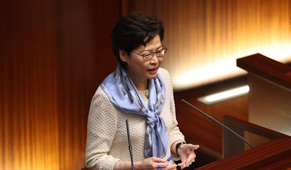 Chief Executive Carrie Lam in the Legislative Council chamber on Wednesday. Photo: K. Y. Cheng