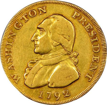 A one-of-a-kind gold coin believed to have once been a cherished memento of U.S. President George Washington is displayed in this handout image released June 12, 2018. Numismatic Guarantee Corporation/Handout via REUTERS