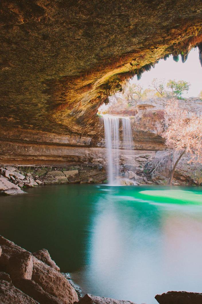 <p><strong>Where: </strong>Hamilton Pool, Texas</p><p><strong>Why We Love It: </strong>Located 30 miles west of Austin, the grotto at Hamilton Pool was created thousands of years ago when the dome of an underground river collapsed.</p>