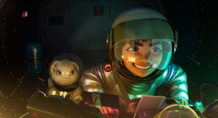 "Fei Fei (voiced by Cathy Ang) and her pet rabbit, Bungee, in the movie ""Over the Moon."""