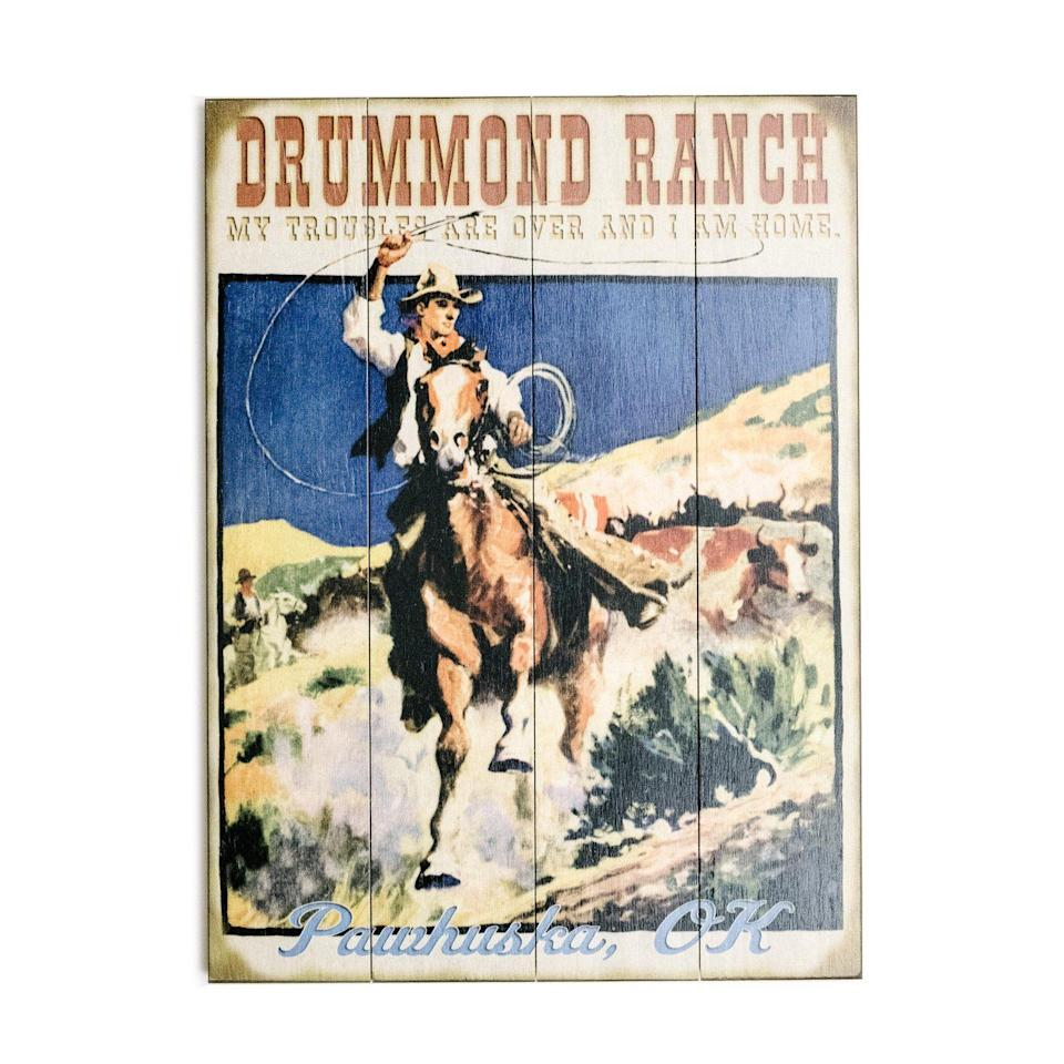 """<p>themercantile.com</p><p><strong>$48.00</strong></p><p><a href=""""https://www.themercantile.com/collections/fathers-day/products/drummond-ranch-wood-sign"""" rel=""""nofollow noopener"""" target=""""_blank"""" data-ylk=""""slk:Shop Now"""" class=""""link rapid-noclick-resp"""">Shop Now</a></p><p>""""My troubles are over and I am home,"""" reads this fun wooden sign, which also features the words, """"Drummond Ranch"""" and """"Pawhuska, OK."""" It ships straight from The Mercantile.</p>"""