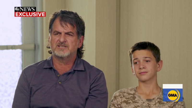 Devin Langford, 13, pictured with his dad David on Good Morning America.