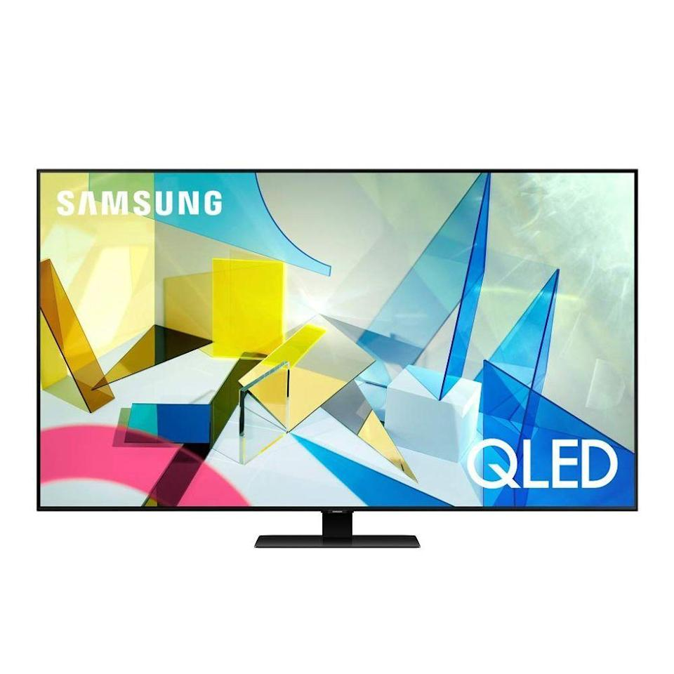"""<p><strong>Samsung</strong></p><p>amazon.com</p><p><a href=""""https://www.amazon.com/dp/B084RGZ3P7?tag=syn-yahoo-20&ascsubtag=%5Bartid%7C2089.g.864%5Bsrc%7Cyahoo-us"""" rel=""""nofollow noopener"""" target=""""_blank"""" data-ylk=""""slk:Shop Now"""" class=""""link rapid-noclick-resp"""">Shop Now</a></p><p>The Samsung Q80T Series 4K TV has gorgeous industrial design and superb picture quality. The latter comes courtesy of Samsung's QLED display tech, as well as full-array backlighting. Best of all, thanks to a dedicated ambient mode, the TV can seamlessly blend with any interior. </p><p>The smart TV offers access to all major streaming services out of the box. It's compatible with Amazon Alexa and Google Assistant voice commands. You can order this smart TV with up to an 85-inch display panel.</p>"""