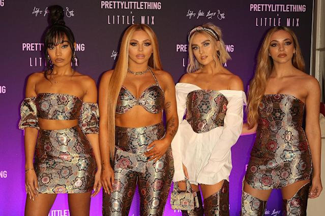 Little Mix's Leigh-Anne Pinnock with bandmates Jade Thirlwall, Perrie Edwards and Jesy Nelson. (Getty Images)