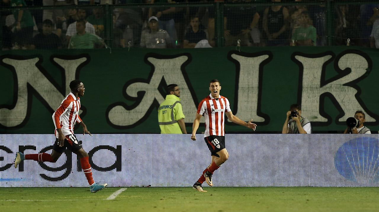Soccer Football - Europa League - Playoffs - Panathinaikos vs Athletic Bilbao - Athens, Greece - August 17, 2017   Athletic Bilbao's Oscar de Marcos celebrates scoring their second goal    REUTERS/Alkis Konstantinidis