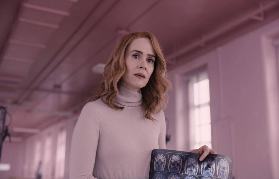 "This image released by Universal Pictures shows Sarah Paulson in a scene from M. Night Shyamalan's ""Glass."" (Jessica Kourkounis/Universal Pictures via AP)"