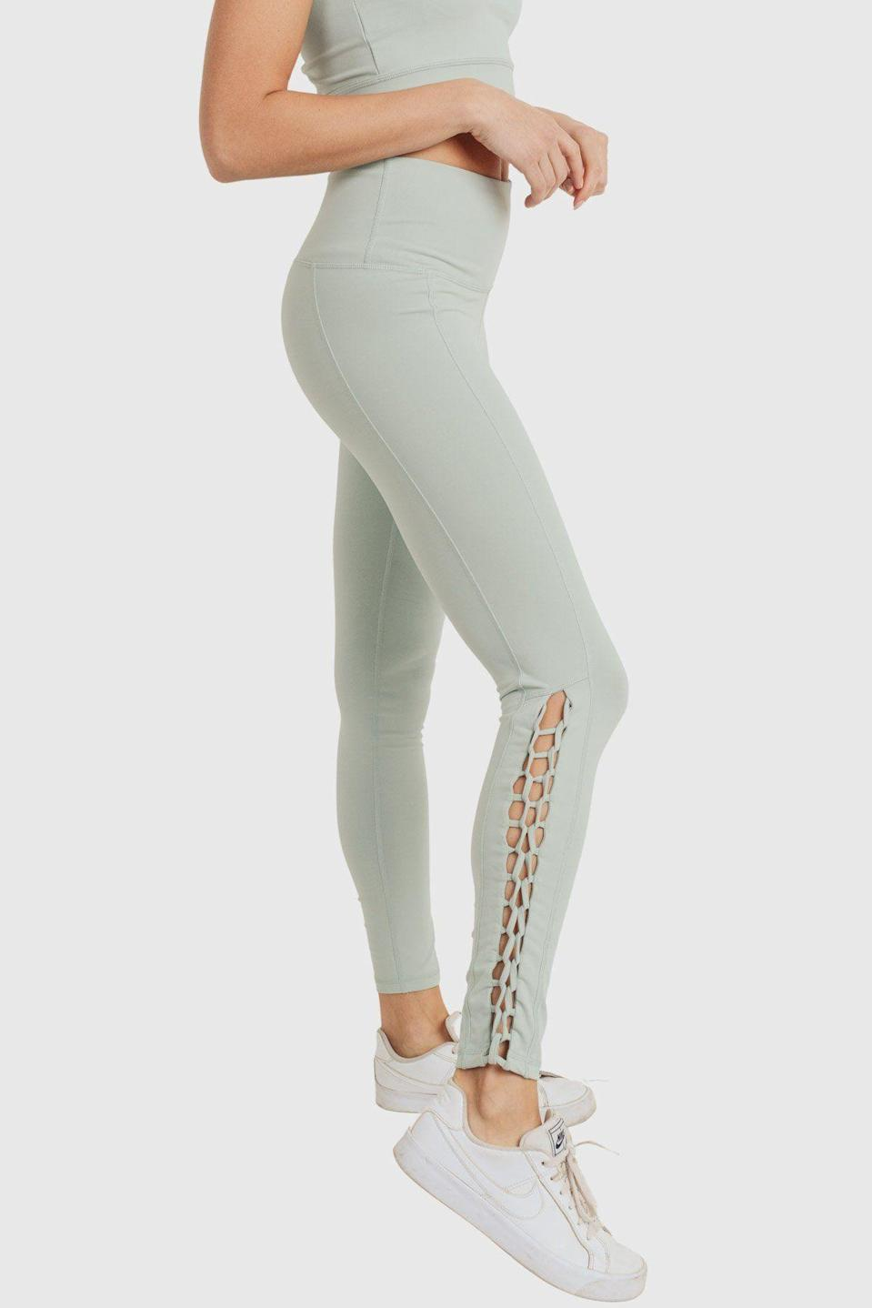 """<p>monobathleisure.com</p><p><strong>$43.00</strong></p><p><a href=""""https://www.monobathleisure.com/collections/all/products/highwaist-solid-full-leggings-with-braid-details"""" rel=""""nofollow noopener"""" target=""""_blank"""" data-ylk=""""slk:Shop Now"""" class=""""link rapid-noclick-resp"""">Shop Now</a></p><p>I might put <a href=""""https://www.seventeen.com/fashion/g27325538/best-lululemon-leggings/"""" rel=""""nofollow noopener"""" target=""""_blank"""" data-ylk=""""slk:my Lululemon leggings"""" class=""""link rapid-noclick-resp"""">my Lululemon leggings</a> on hold for these cute lil lace-up bbys.</p>"""