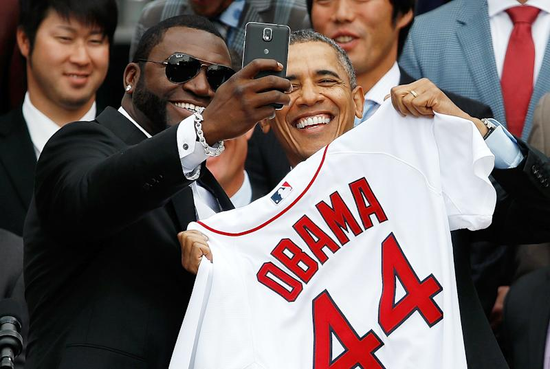 Boston Red Sox player David Ortiz poses with Obama at the White House in 2014.  (Win McNamee via Getty Images)