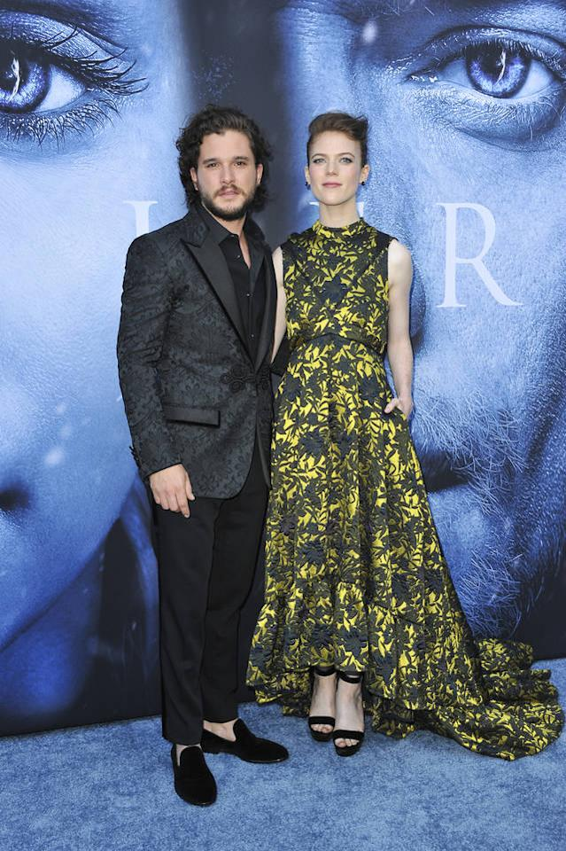 <p>The real life GOT couple arrived with Kit looking suave in a paisley jacket and smoking slippers and Rose opting for a printed Erdem gown. (Photo: AP) </p>