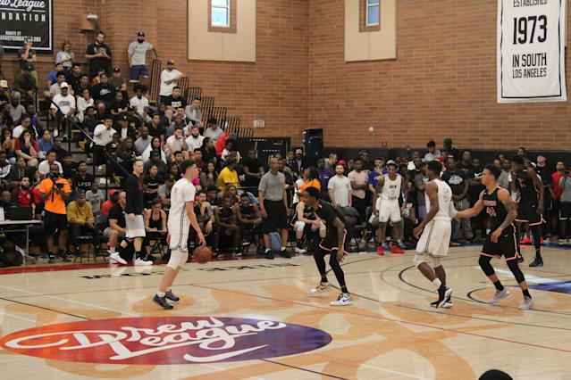 High school point guard LaMelo Ball played at the Drew League on Saturday. (Josh Schafer/Yahoo Sports)