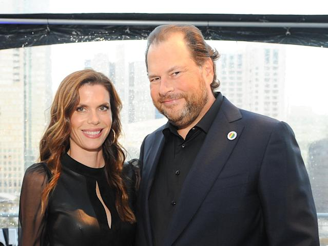 Marc Benioff has taken to wearing an American flag pin — what could