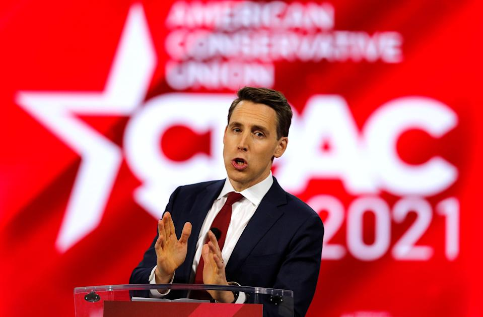 Republican representative Josh Hawley pictured at the Conservative Political Action Conference last week where he mocked cancel culture, despite decrying it onlineREUTERS