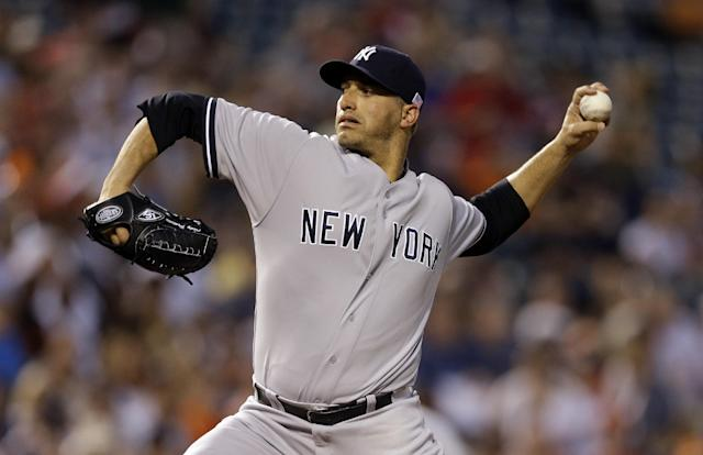 New York Yankees starting pitcher Andy Pettitte throws to the Baltimore Orioles in the first inning of a baseball game, Wednesday, Sept. 11, 2013, in Baltimore. (AP Photo/Patrick Semansky)