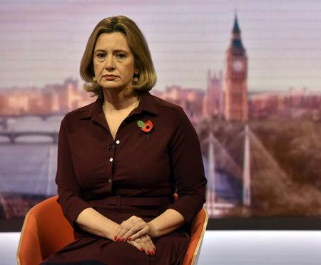 Britain's Home Secretary, Amber Rudd, is seen appearing on the BBC's Andrew Marr Show in this photograph received via the BBC in London