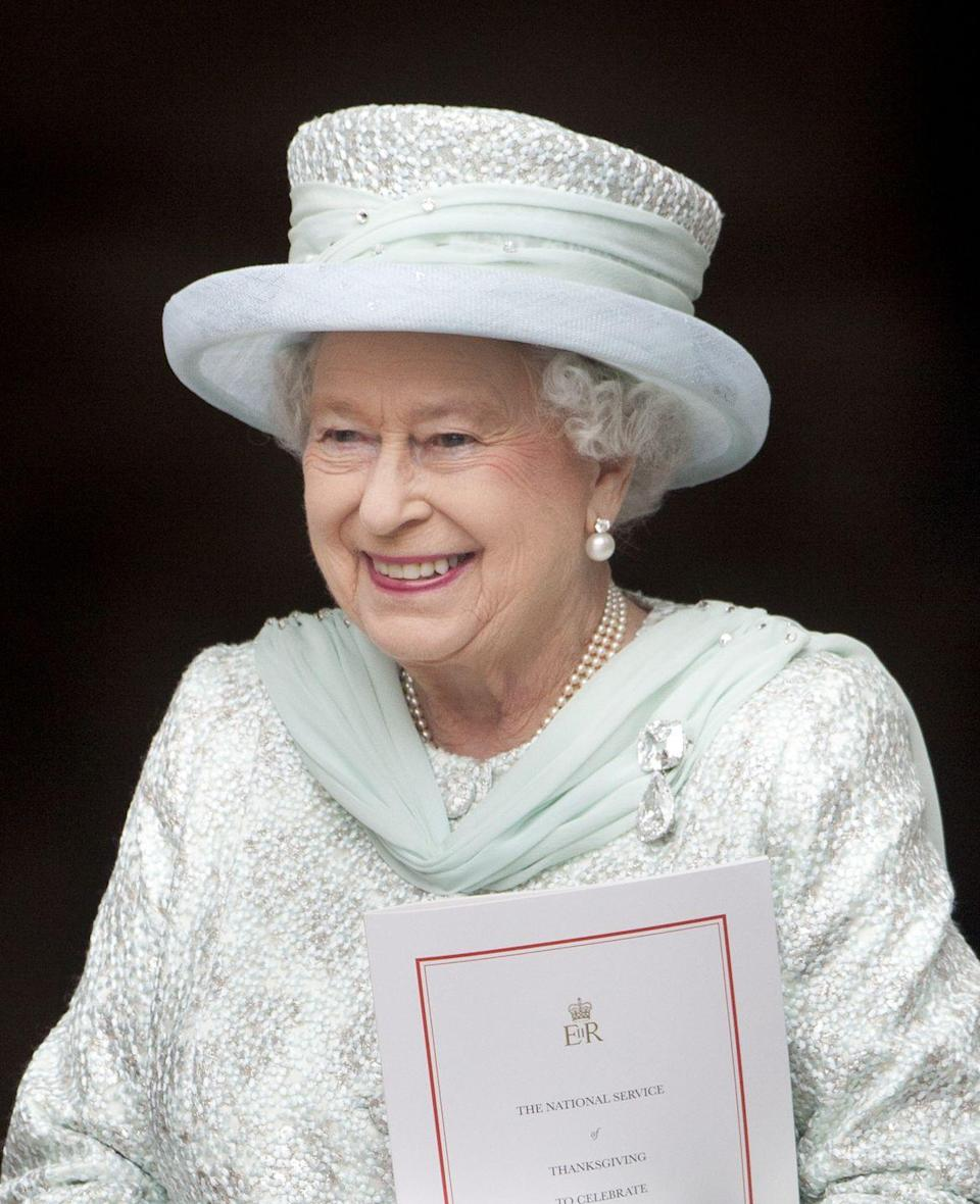 "<p>The two diamonds that make up this brooch, affectionately known to the royal family as ""Granny's Chips,"" are stones cut from the gargantuan Cullinan diamond in 1905. Together they amount to 158 carats. The Queen inherited the brooch from her grandmother and wore it for the church service to mark her Diamond Jubilee.<br></p>"